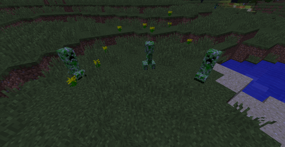 Hostile mobs spawn at night when the light level is seven or below.