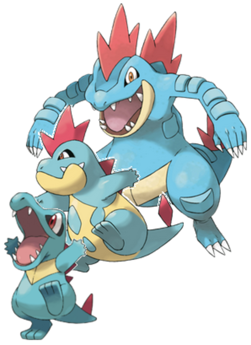 Totodile, Croconaw, and Feraligatr