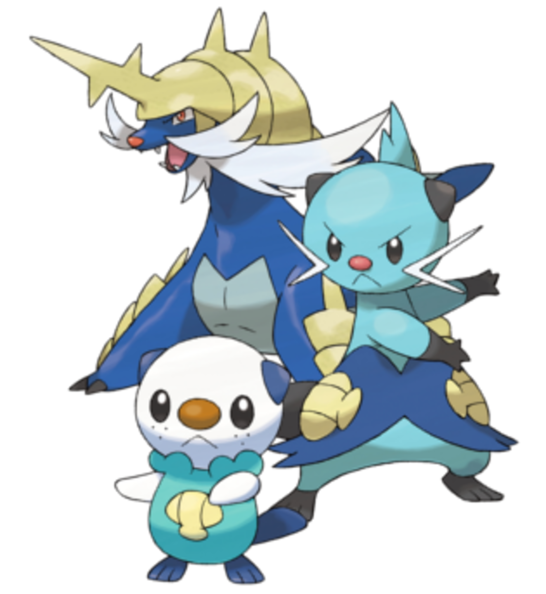 Oshawott, Dewott, and Samurott