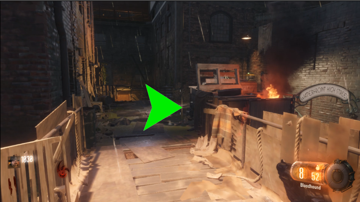 This second location is the walkway leading from the Beast Mode shortcut to the perk room. If here, it will be leaning against the crate. Note: in this picture I have my back to the perk room.