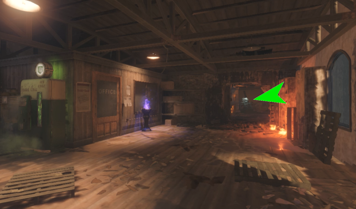 The Waterlight Statue is inside a building near the perk location.