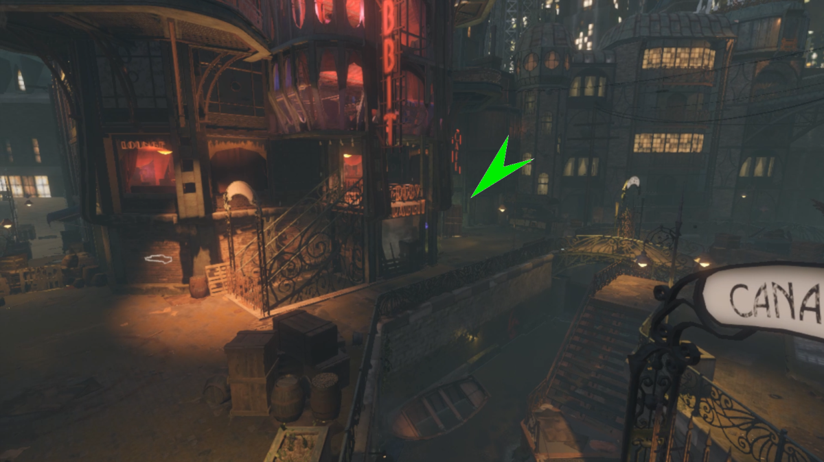 The Canal Crate can be found next to the Ruby Rabbit.