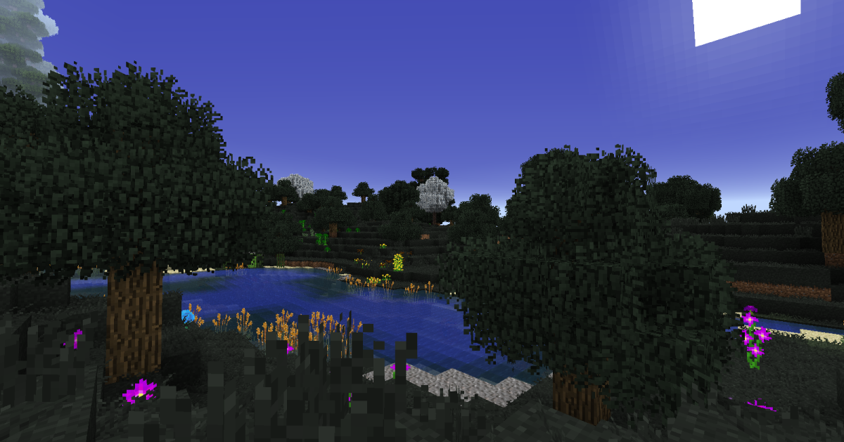 Thaumcraft's eerie, normally a tiny dark patch only generated around obelisks, can be turned into a full-sized biome if one wishes.