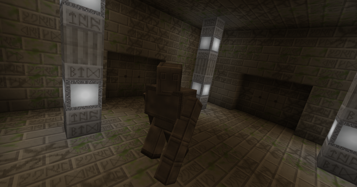 Runic Guardians are very similar to the iron golems in normal Minecraft, but instead of protecting the player, they attempt to slam them into the ceiling.