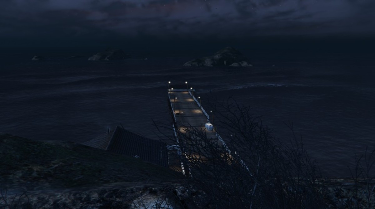 Overlook of the pier from your sniping position.