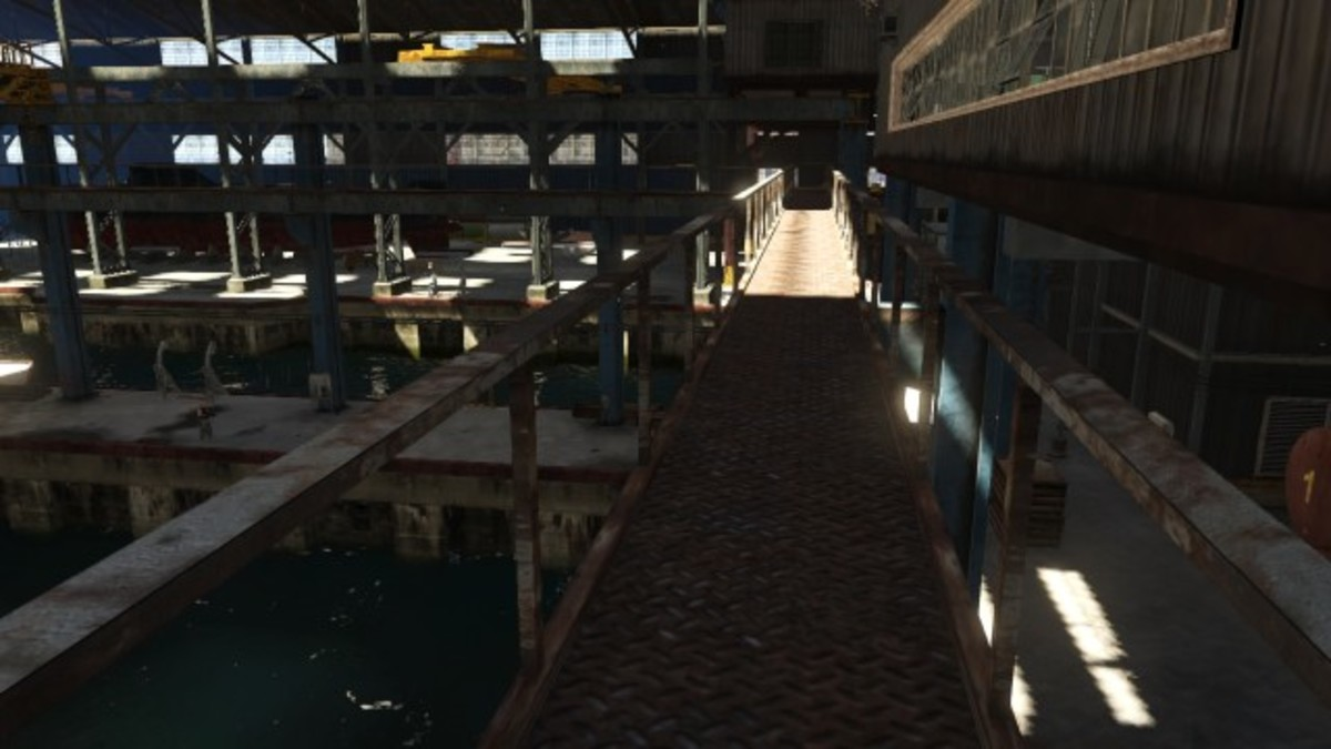 After cracking the safe take this catwalk to the dive point.
