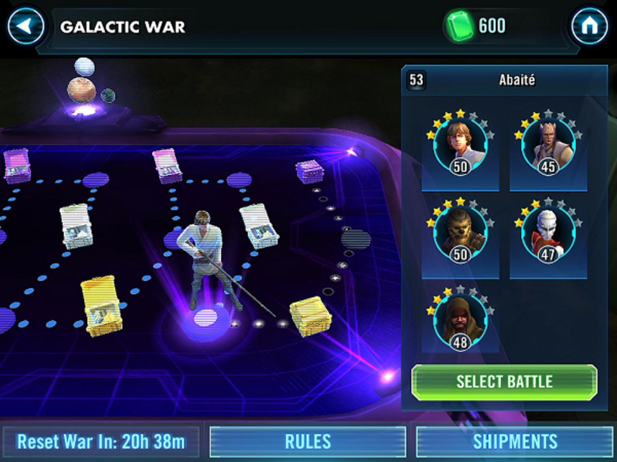 Galaxy of Heroes Galactic War interface