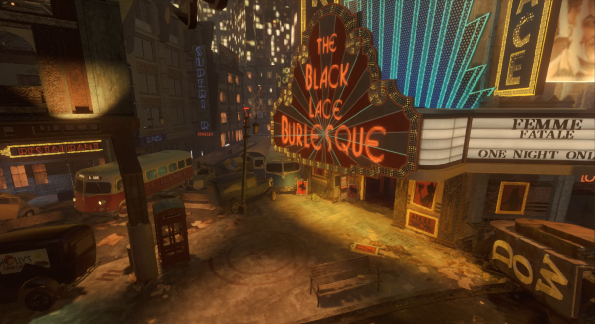 Located in the Footlight District directly in front of the Black Lace Burlesque.
