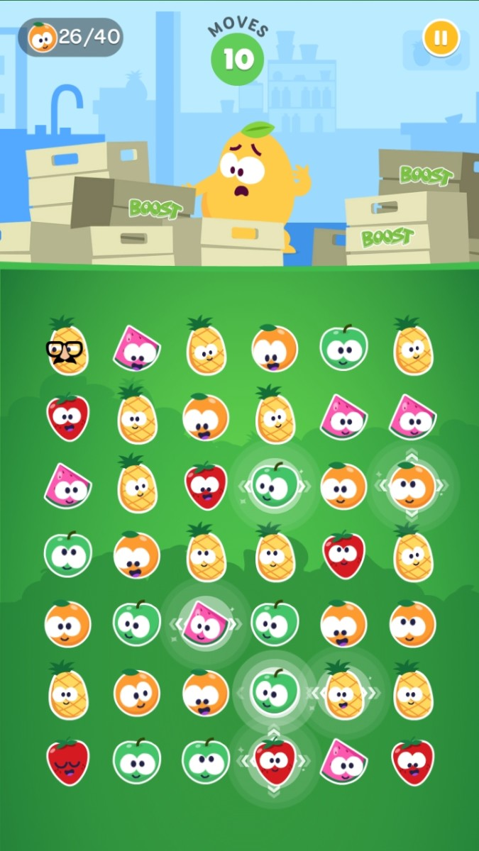 A sharp eye can pick out the arrows that indicate which line will be cleared by the super fruit.