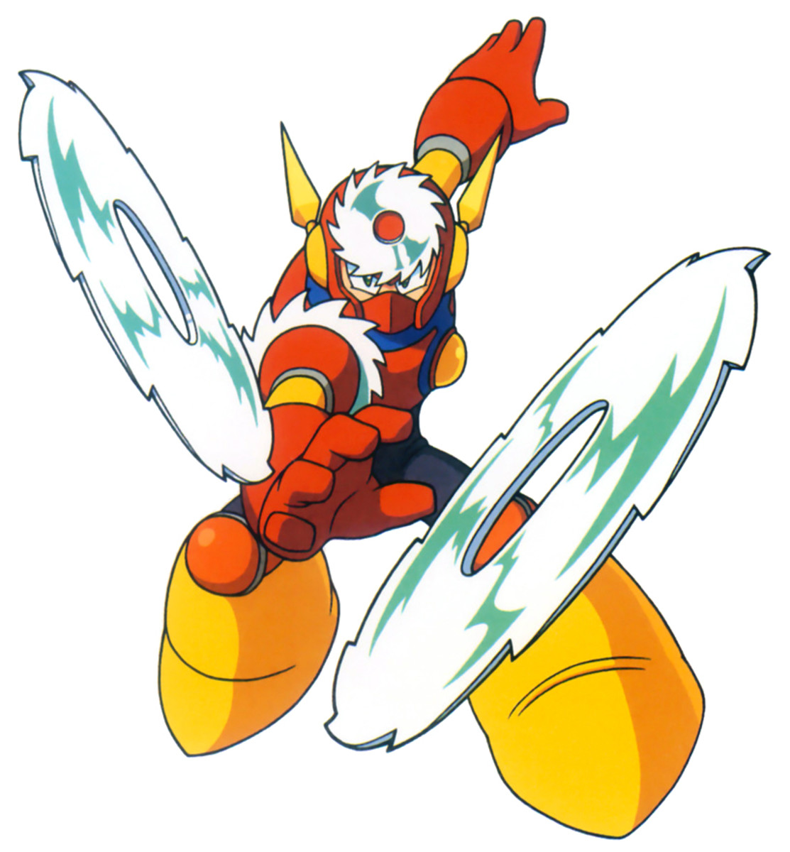 Metal Man is Dr. Wily's first robot master. His weapon consists of ceramic titanium blades.