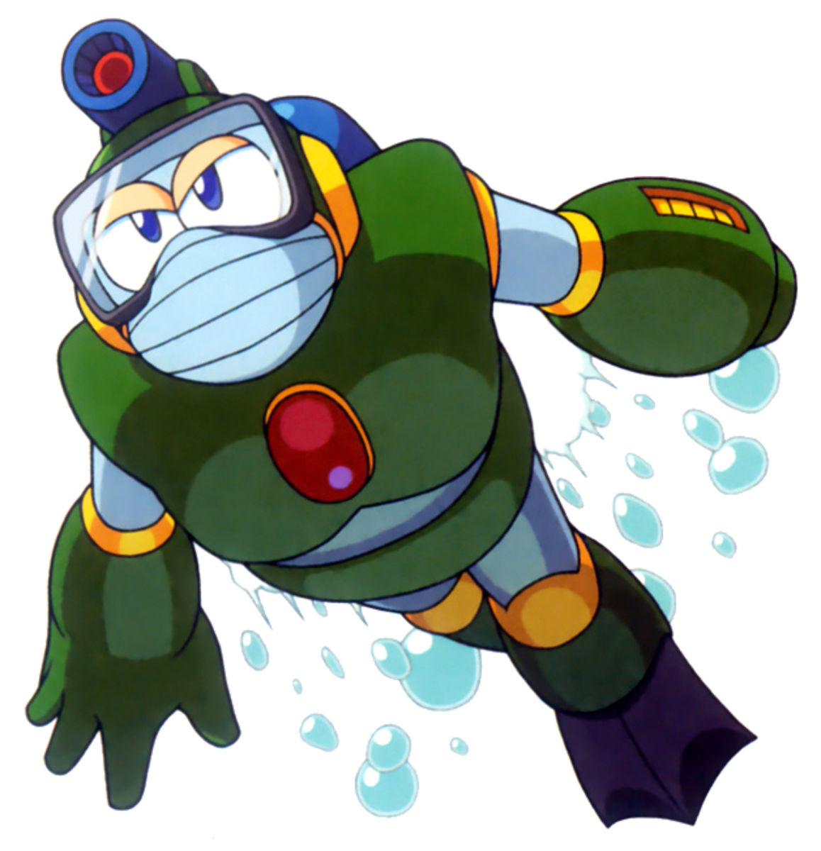 Bubble Man has the versatility of shooting bubbles from his arm cannon and head gun and a buster shot from his arm cannon.