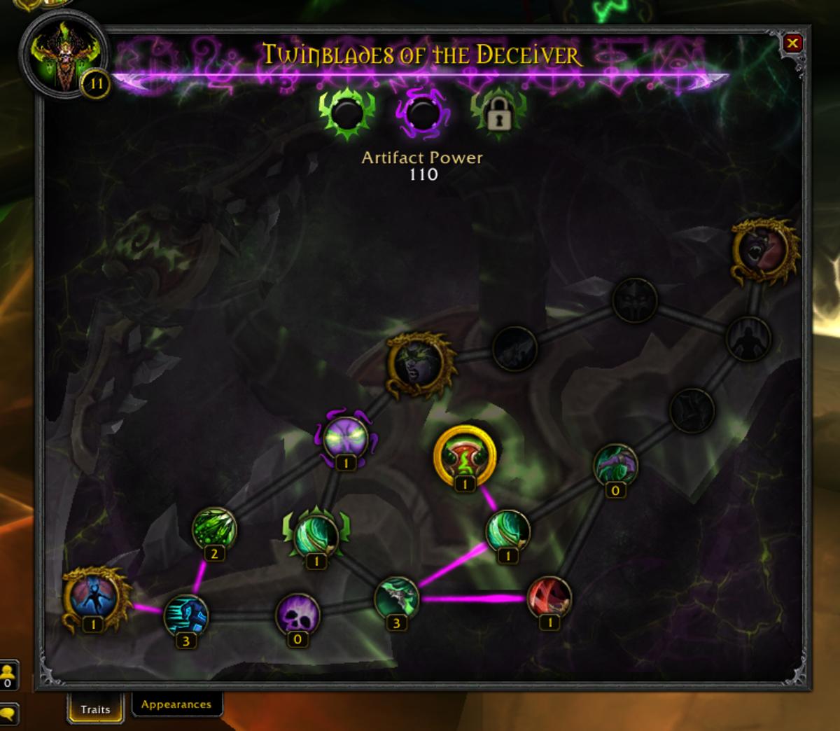 Unlocking traits on an artifact weapon.