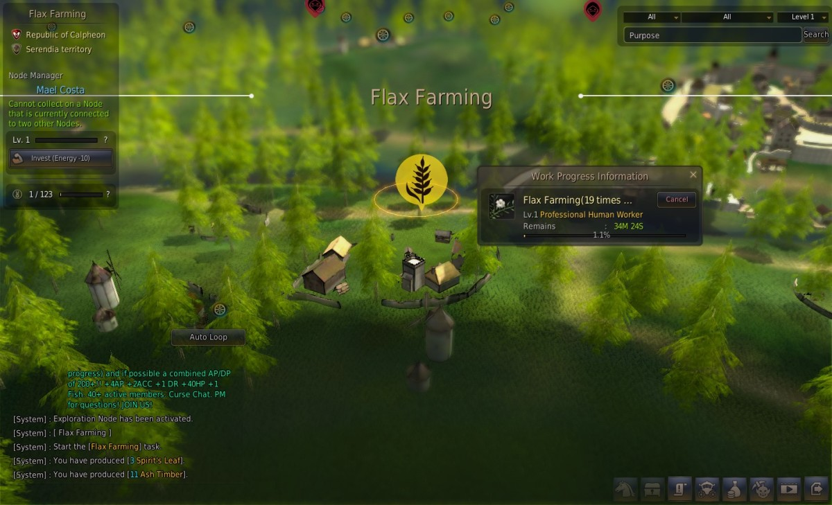 Managing a flax farming node with an active worker.