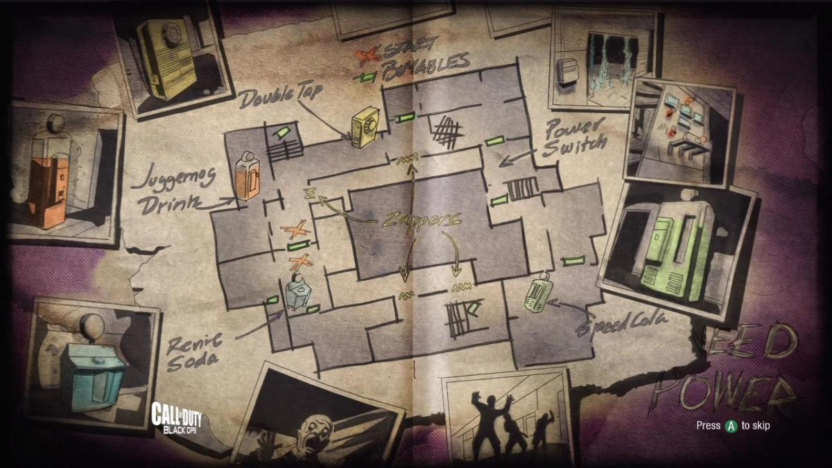 """The loading screen from the re-mastered """"Verruckt"""" Zombies Map."""