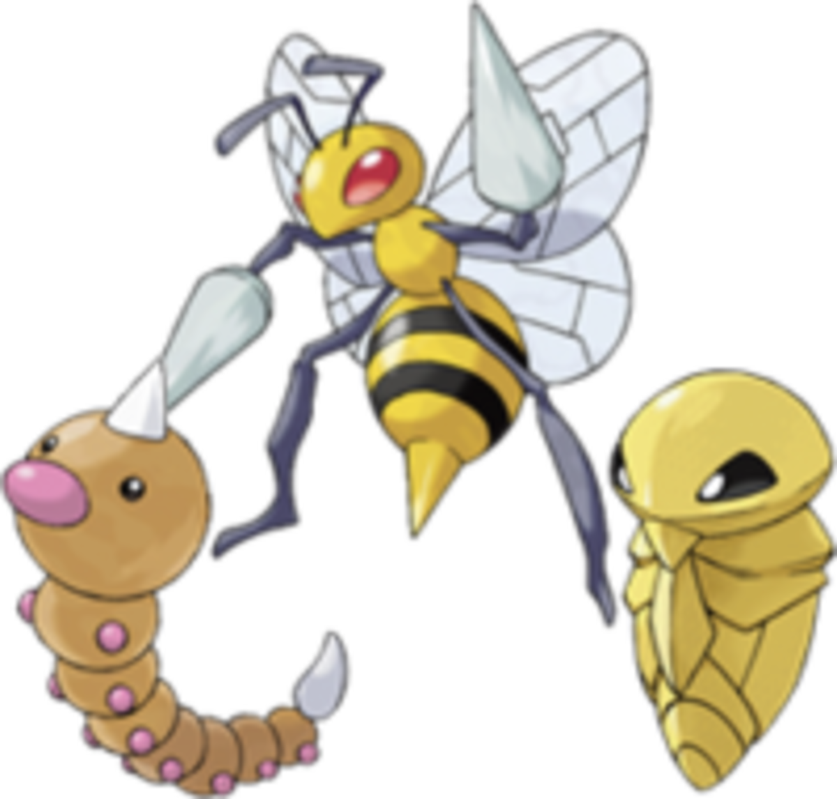 Weedle, Kakuna, and Beedrill