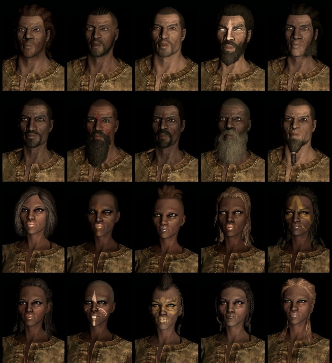 Compilation of Skyrim Redguard faces