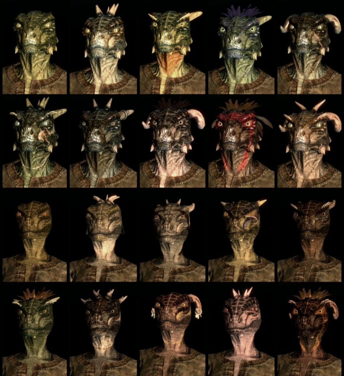 Compilation of Skyrim Argonian Race faces