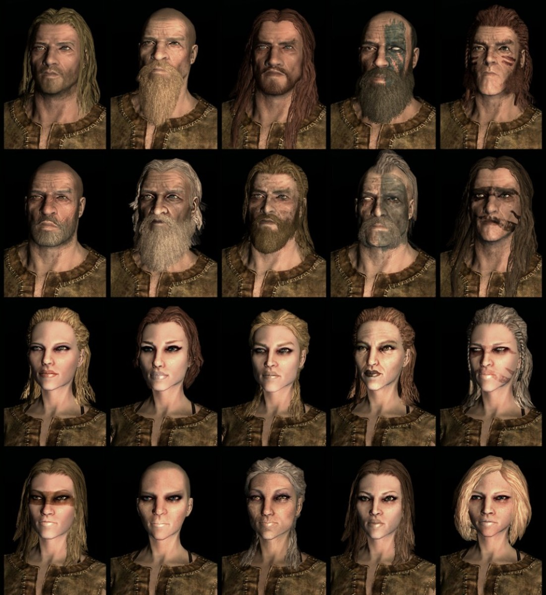 Compilation of Skyrim Nord faces