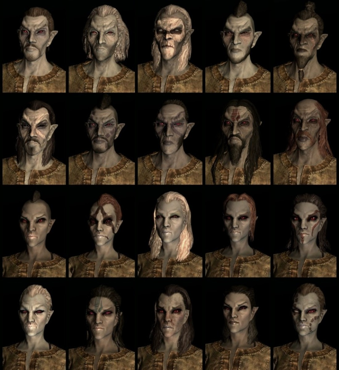 Compilation of Skyrim  Dark Elf faces