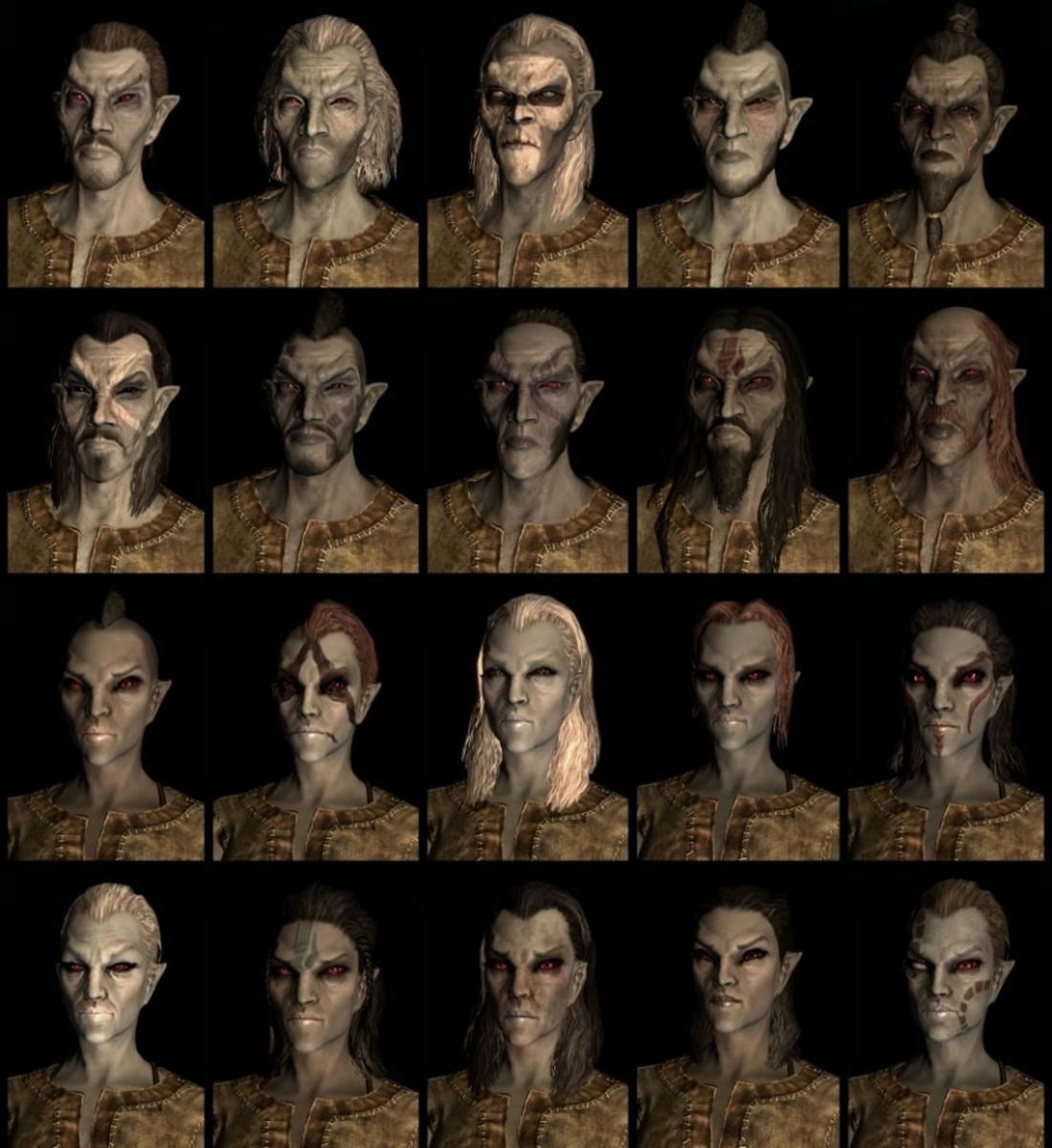 Compilation of Skyrim  Dark Elf faces