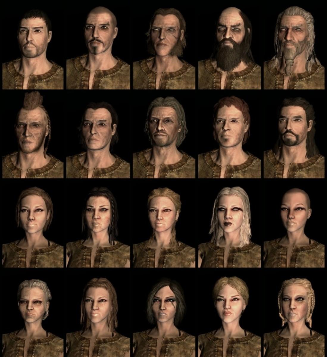 Compilation of Skyrim Breton Race faces