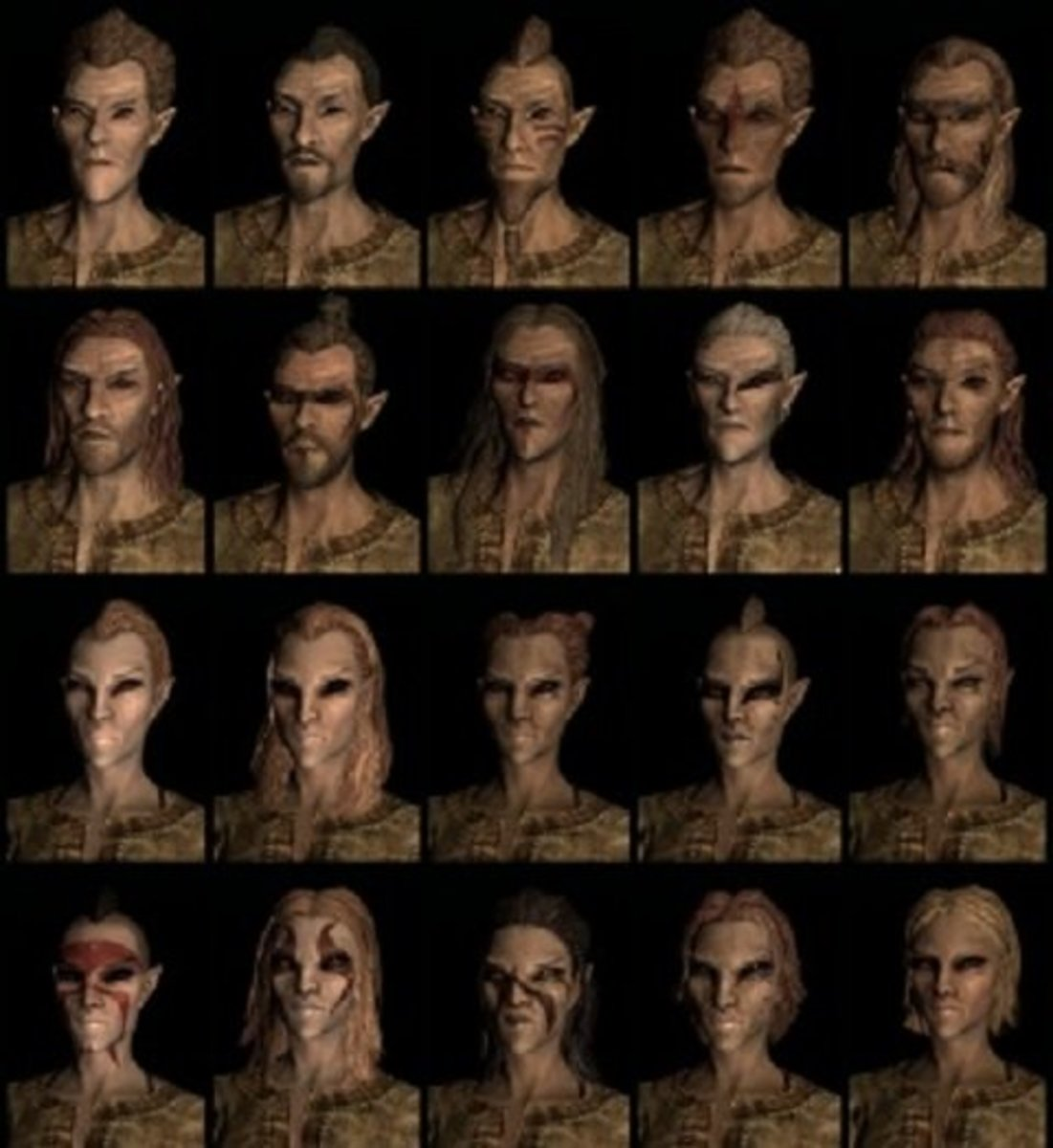 Compilation of Skyrim Wood Elf faces