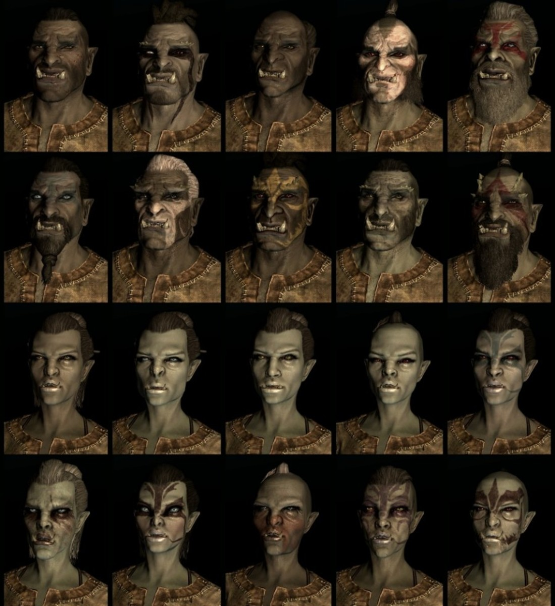 Compilation of Skyrim Orc faces