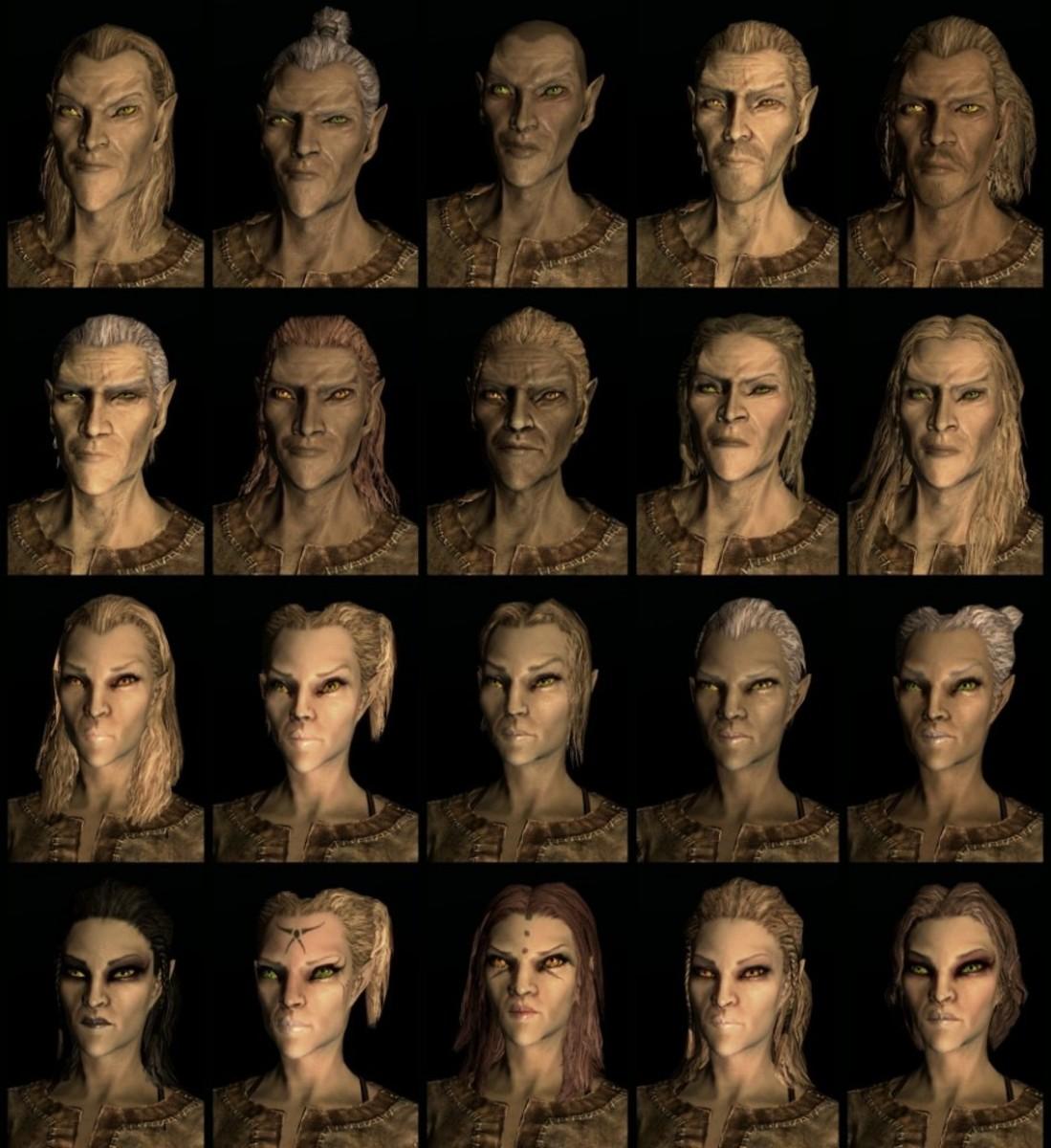 Compilation of Skyrim High Elf faces
