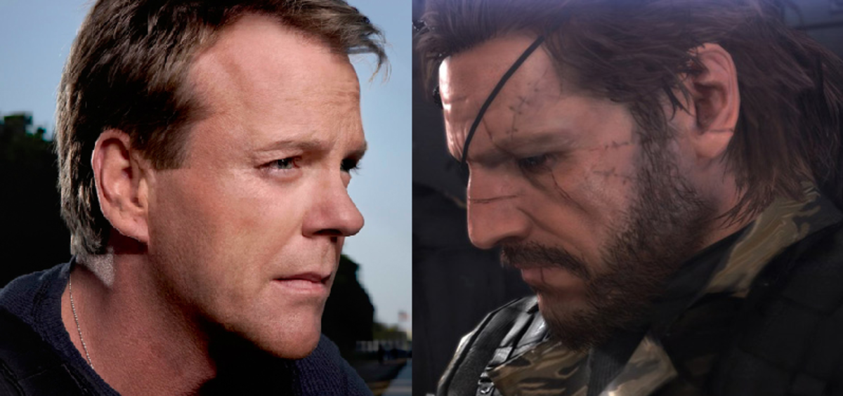 Kiefer Sutherland (left) having the Metal Gear plot explained to him. Snake/The Boss (right) being informed that David Hayter is yesterdays news.