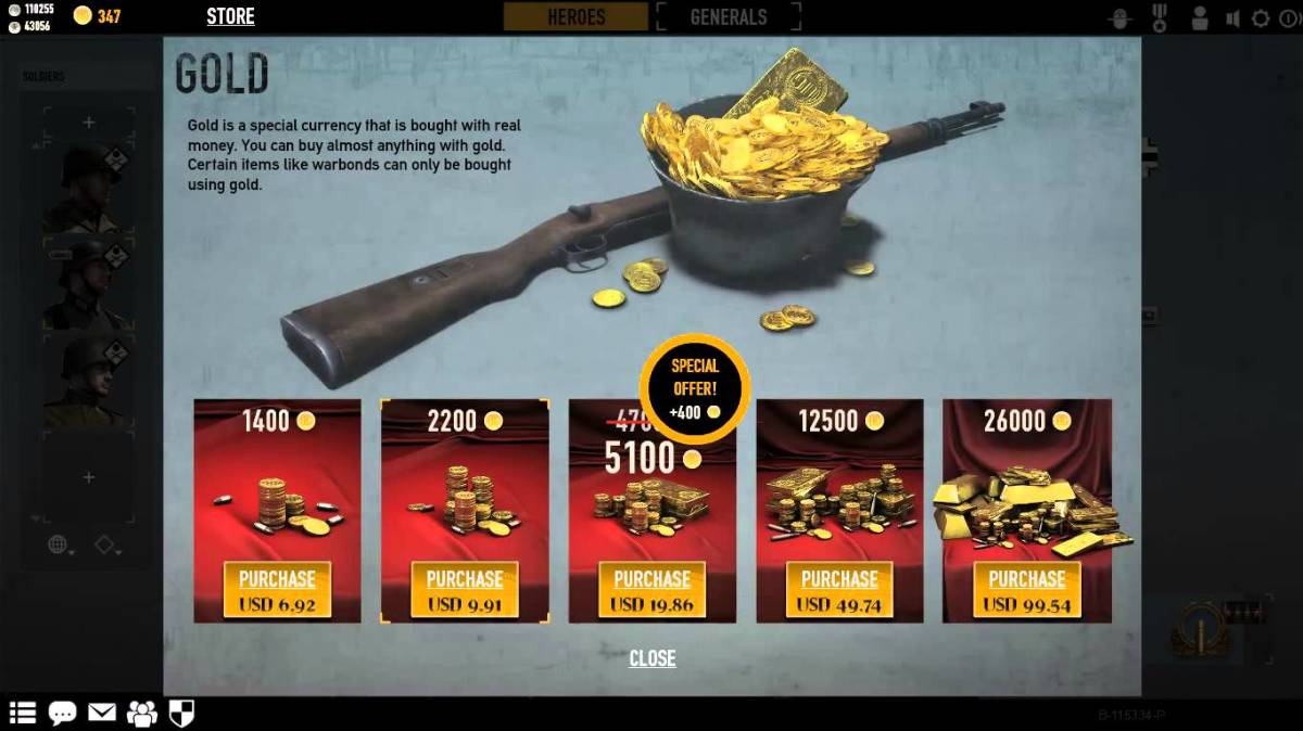 Heroes and Generals Gold (Cash Currency)