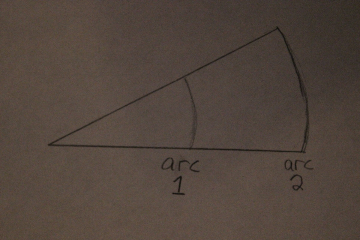 Both arcs have the same angle, but arc 2 has more length by which to reference changes in angle. Use arc 2.