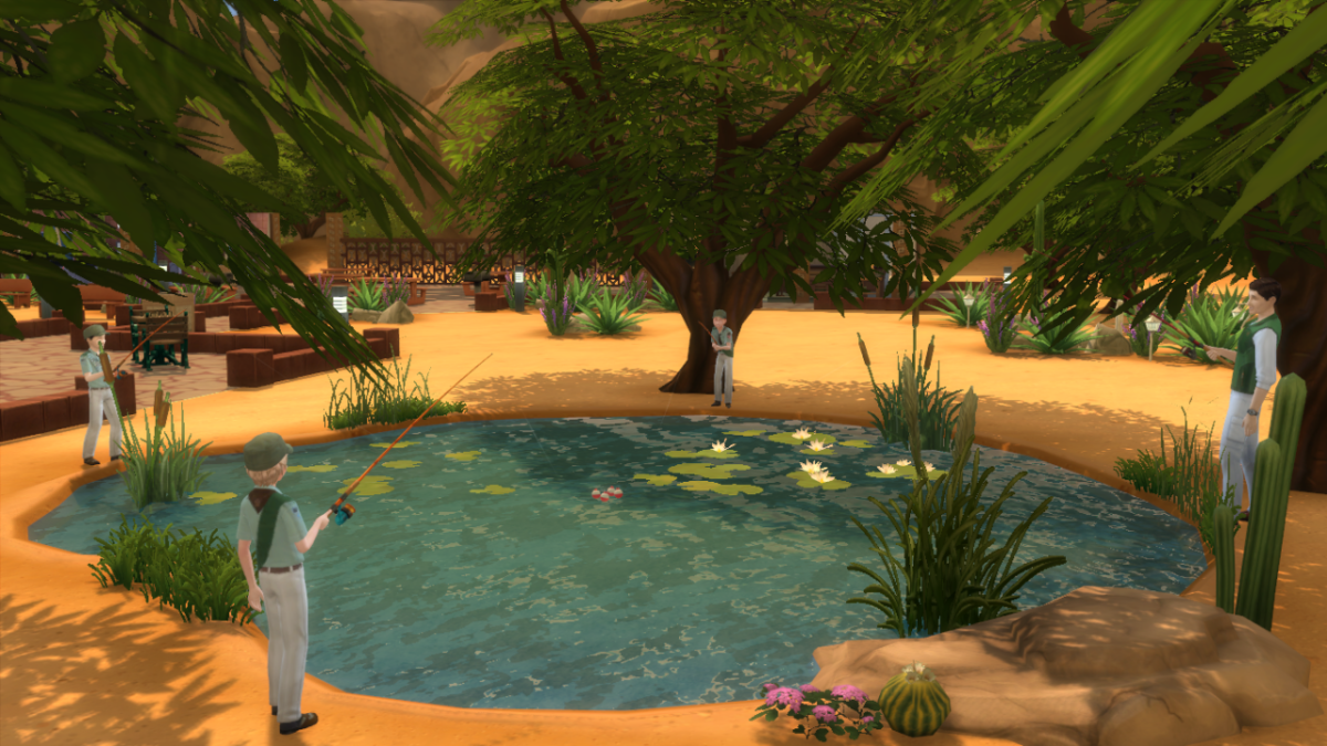 My Sim kids in their boy scouts meeting, fishing at the lake.