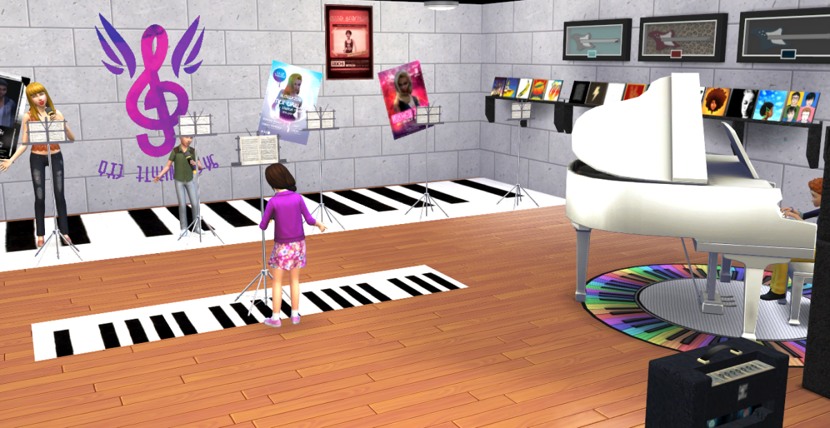 More shots from inside the club choir room I created in my game.