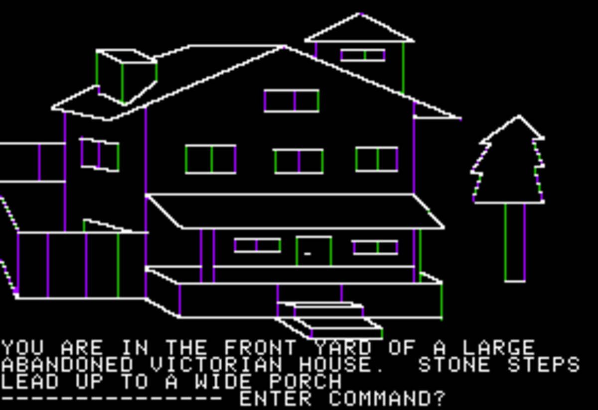 Screenshot of Mystery House for the Apple II.