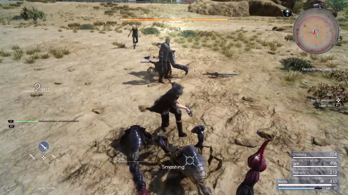The first quest battle of Final Fantasy XV