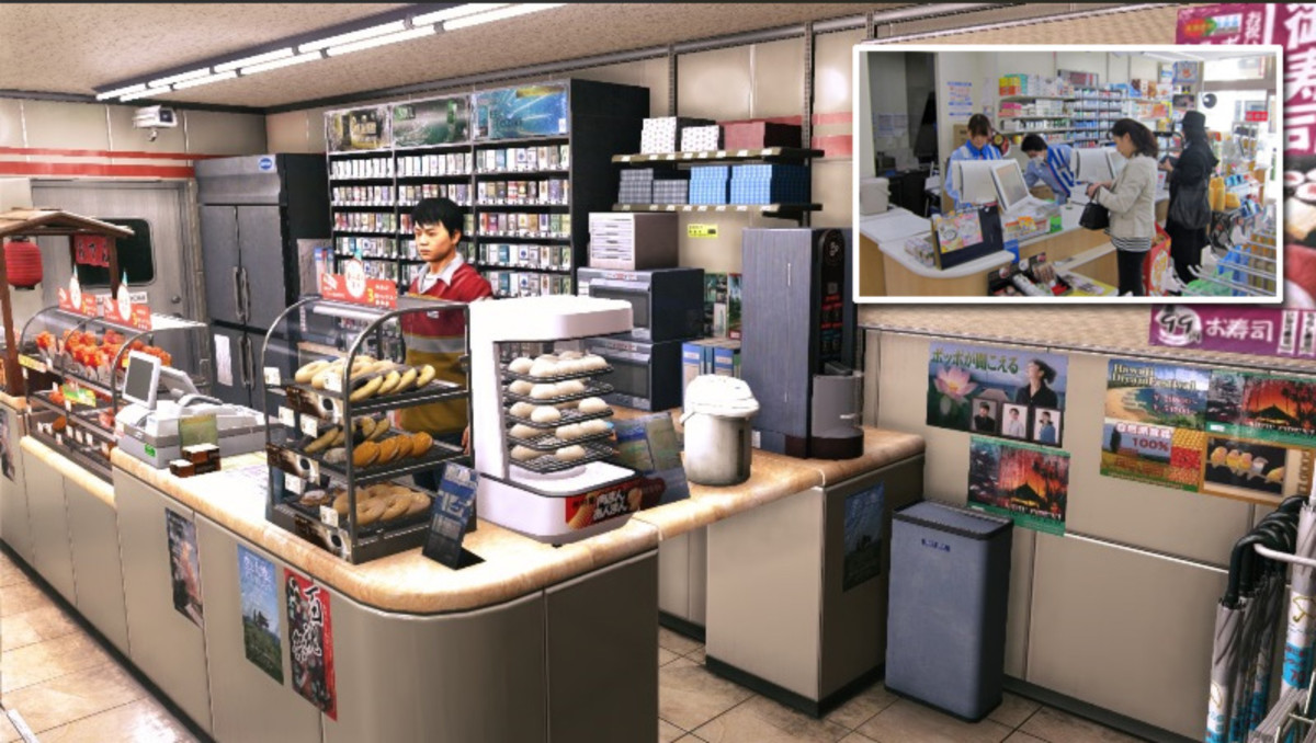 "A convenience store in Yakuza 6: The Song of Life. Meticulously designed to resembled actual Japanese ""combini"" stores."