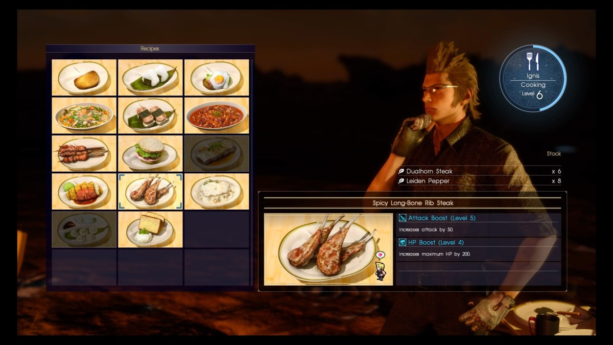 Ignis is a campfire gourmet!