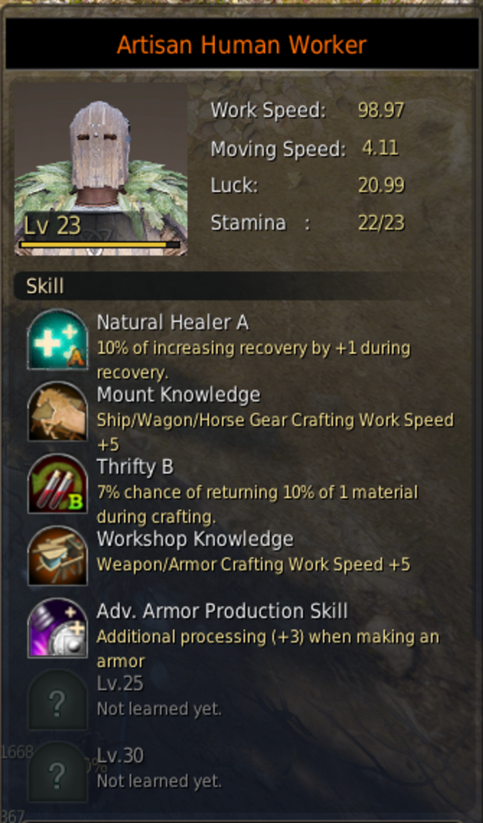 An artisan worker with the Adv. Armor Production Skill. Having workshop knowledge and Thrifty B is also good for armor production.