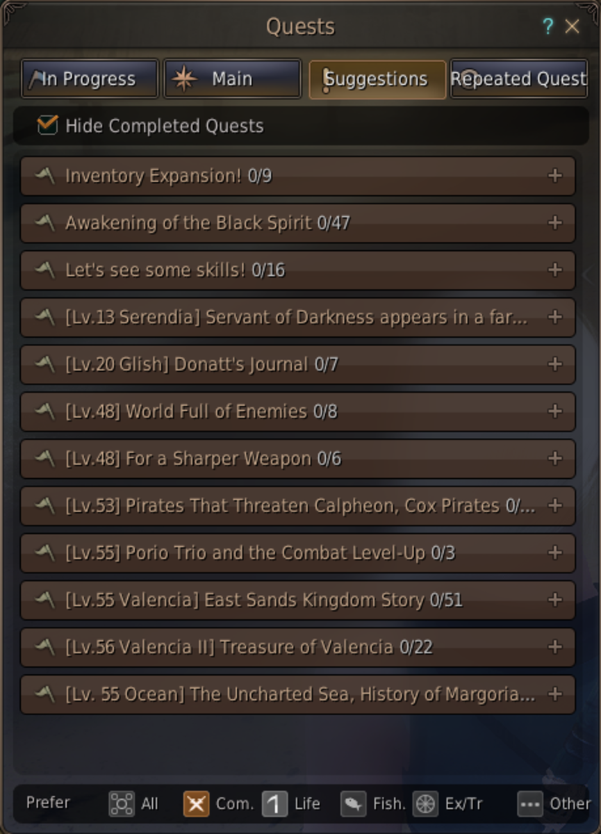 A list of important quests. At the bottom you can see the six tabs which open access to all the quests in Black Desert Online.