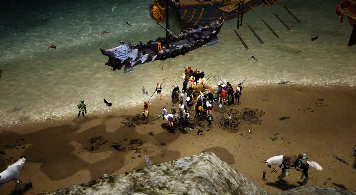 A group of people fishing outside Velia. They are probably mostly auto-fishing over there.