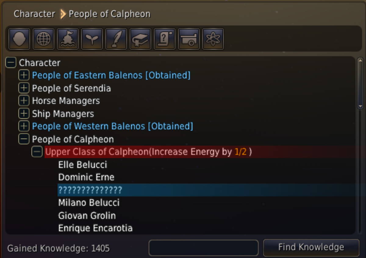 As you can see I still have not found one NPC which belongs to the upper class of Calpheon. When I find him I will get rewarded a energy point for completing this knowledge group.