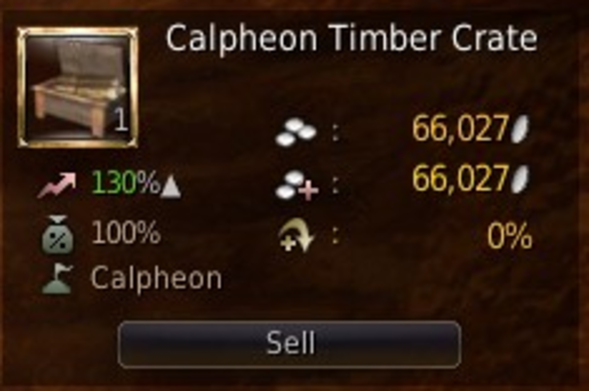 The trading price of a single Calpheon timber crate at 130%. On top of this a distance trade bonus can be applied.