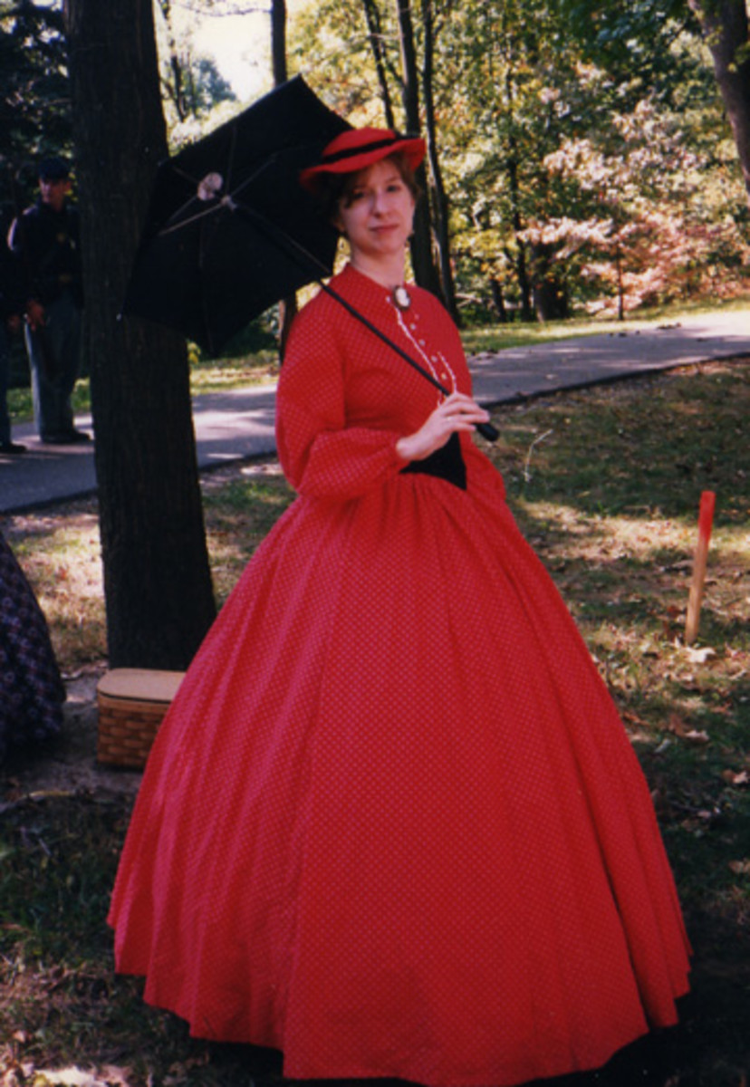 Me in a red two-piece afternoon dress.