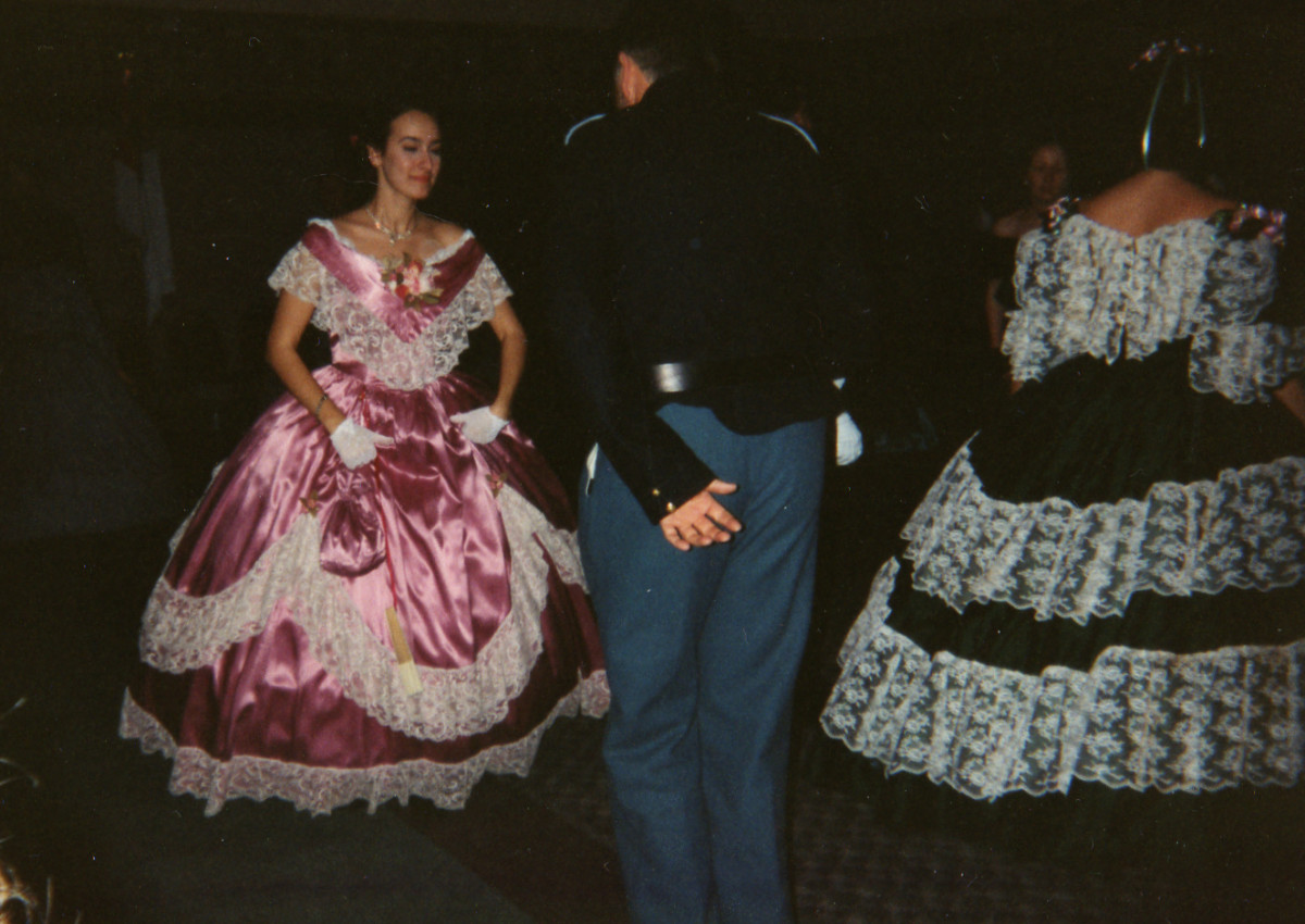 Indoor dances, like this one held in Youngstown OH, encourages ladies to wear fancier ballgowns since there's no fear of getting mud on them!
