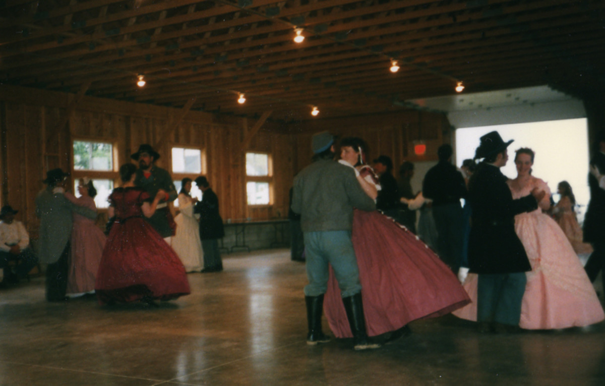 The dances are one of the great parts of reenacting. They're called like square dances, so you don't have to worry about knowing the steps ahead of time.