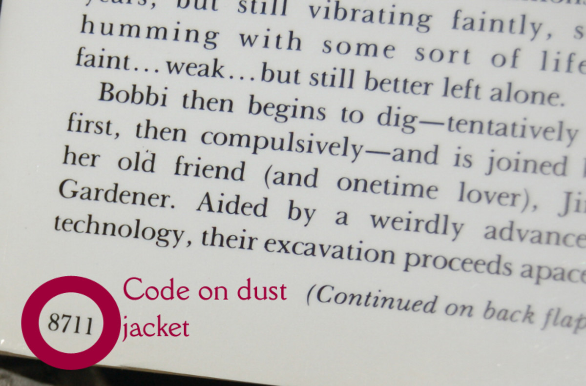 Example of dust jacket code (graphic by AMB)