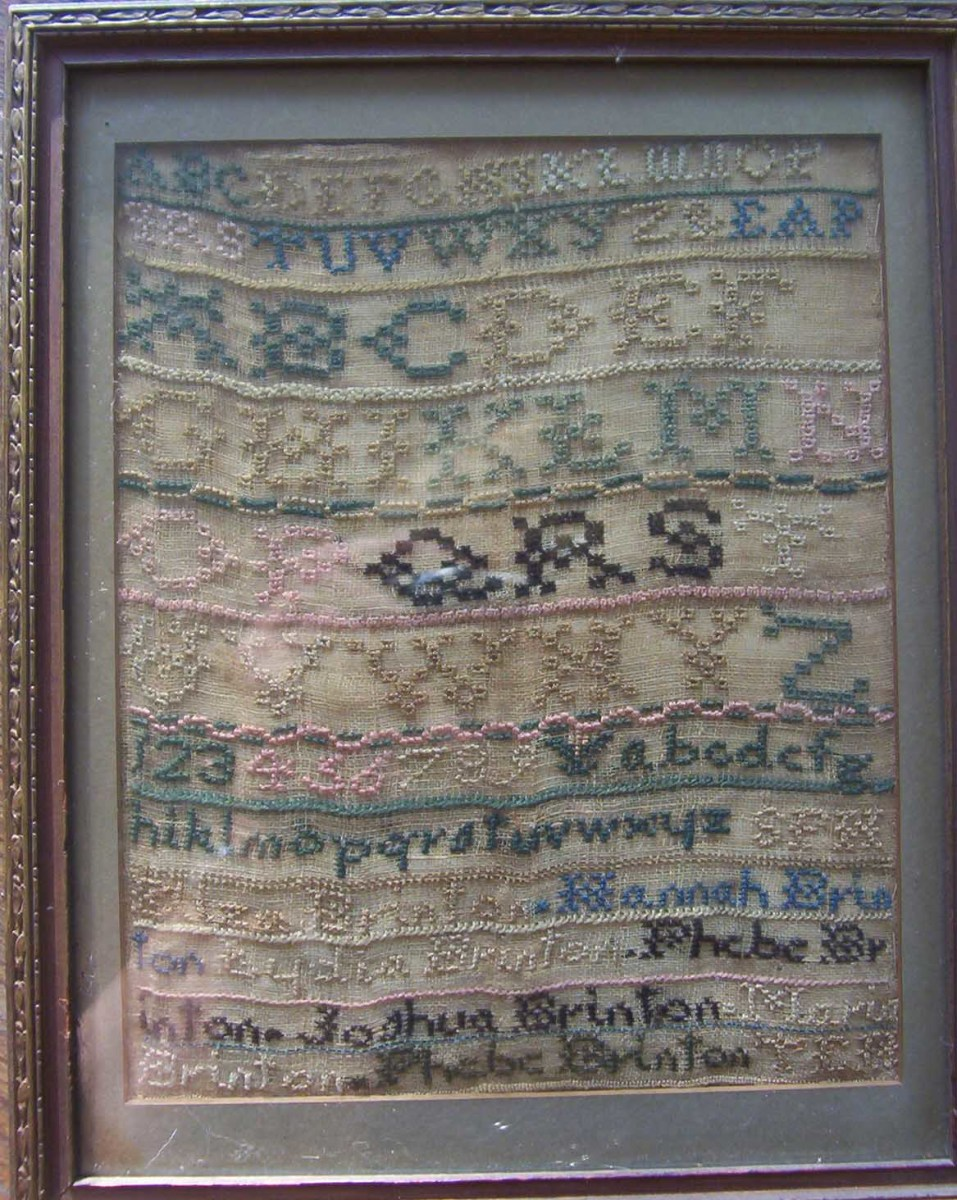 http://hubpages.com/hub/Antique-Needle-Work-My-Brinton-Family-Sampler-an-18th-Century-Sampler (photo by Dolores Monet)