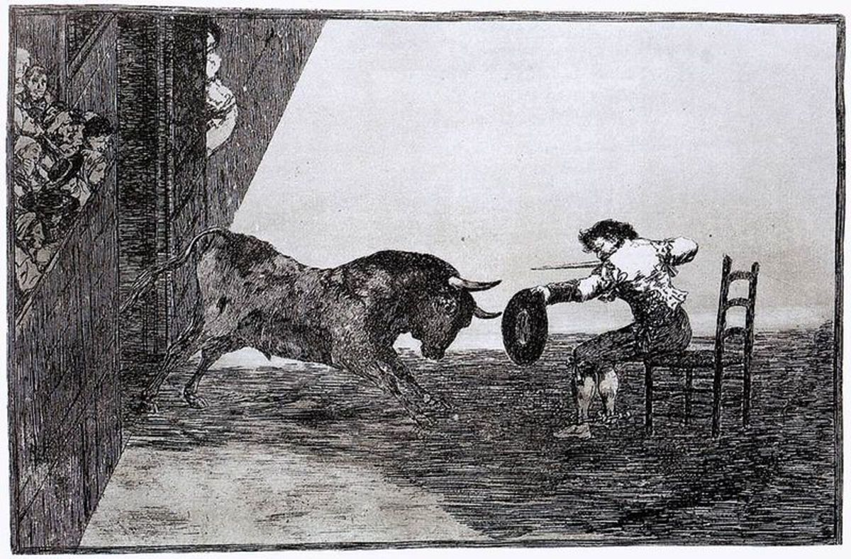 "Goya, ""The Bravery of Martincho in the Ring of Saragassa (Tauromaquia 18),"" 1815-1816. Etching and aquatint. 245 x 355 mm. Image courtesy of Wiki Commons."