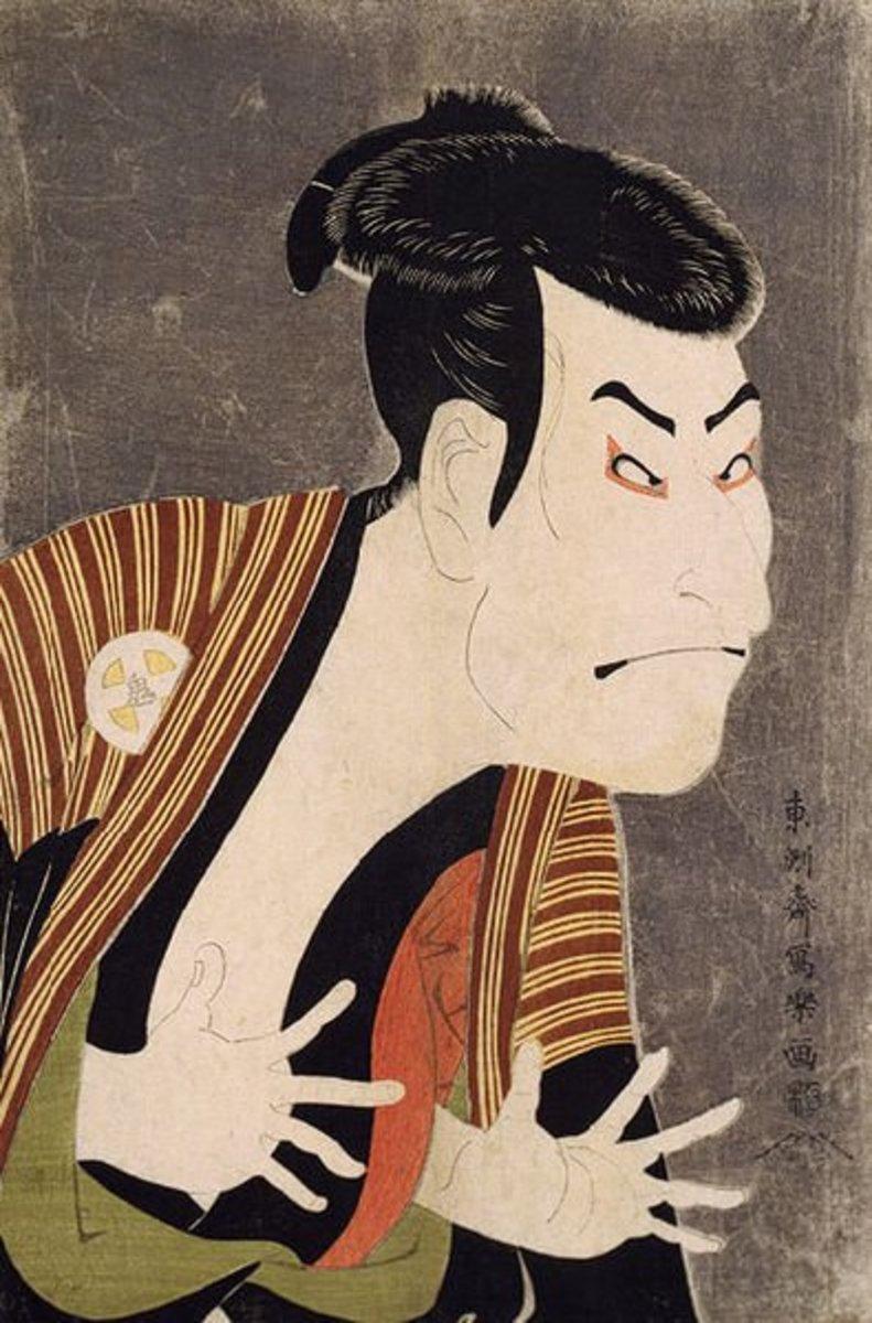 Polychromatic woodcut by Toshusai Sharaku (1770-1825). japanese woodcut, image courtesy of Wiki Commons