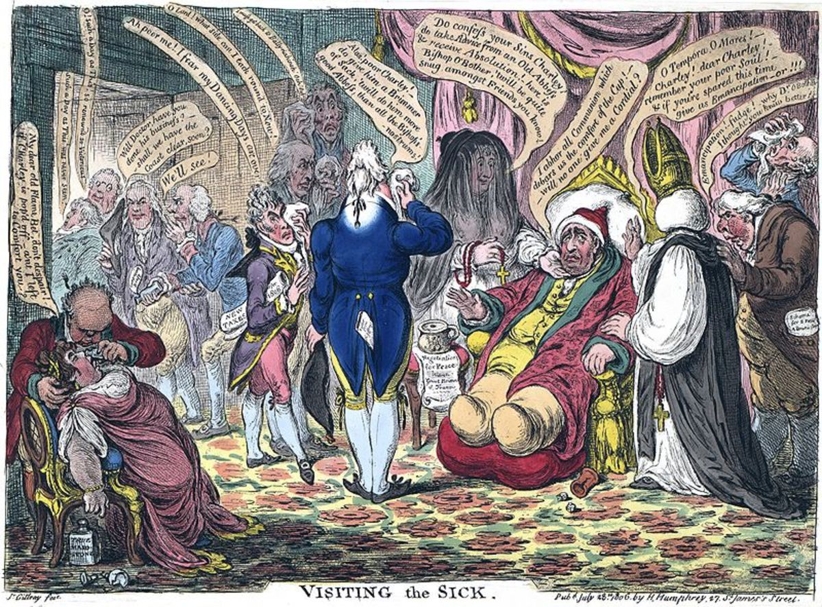 "A highly collectible, hand-coloured political cartoon, ""Visiting the Sick"" by James Gillray, 1806. Image courtesy of Wiki Commons."